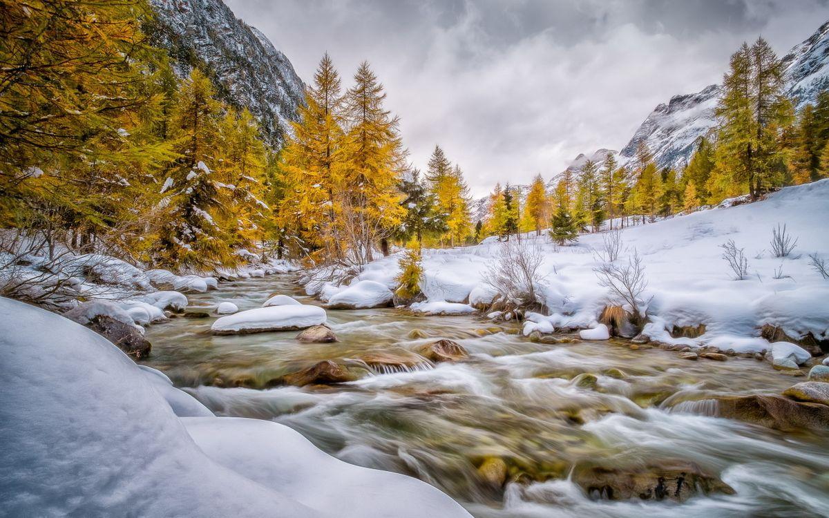 Фото бесплатно горы, снег, деревья, вода, камни, небо, природа, природа