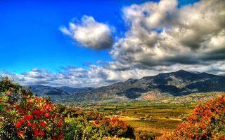 Фото бесплатно горы, зелень, поле