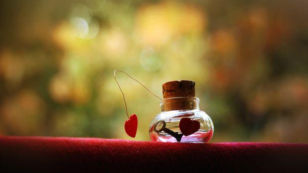 Бесплатные фото ключ,банка,ваза,пробка,сердце,жидкость,проволока,разное