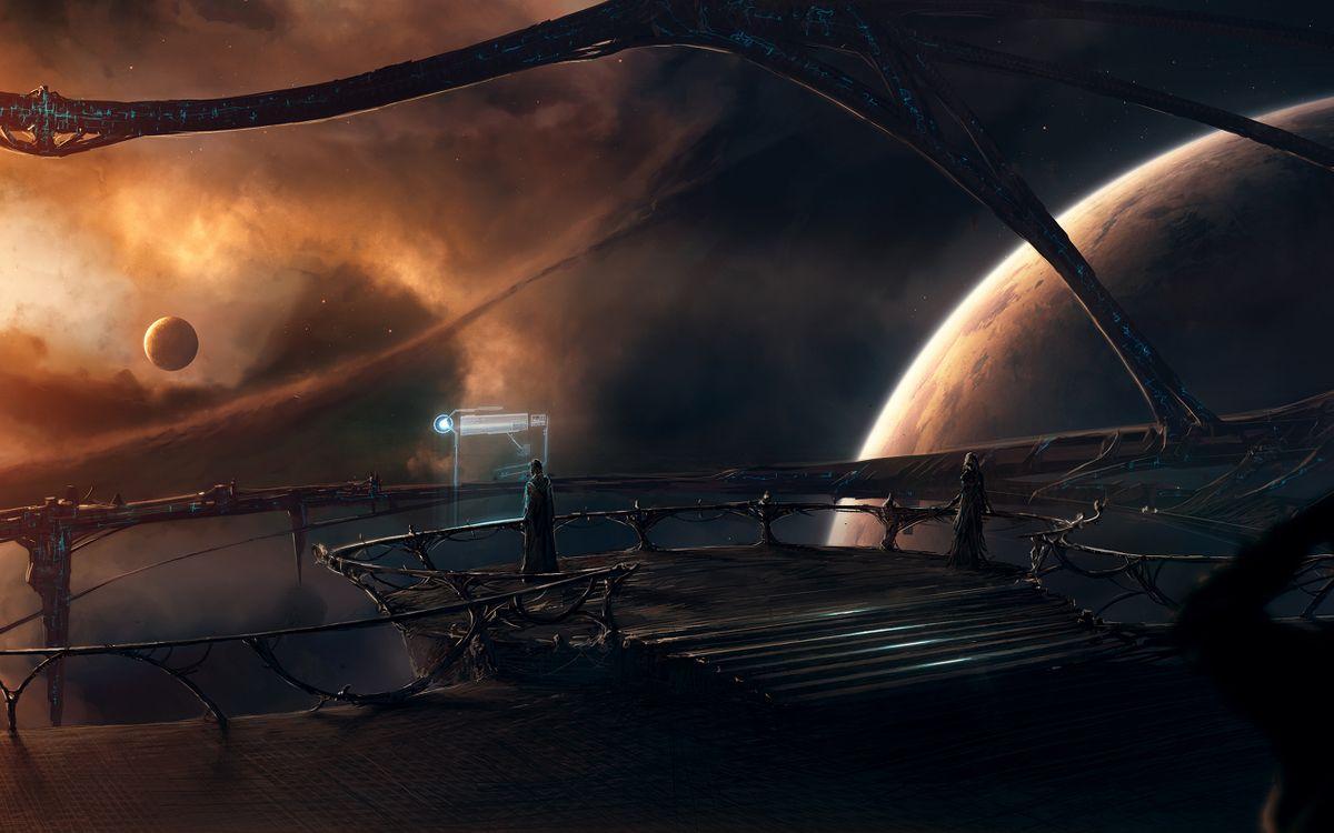 Фото бесплатно космический, корабль, пилот, космос, планеты, вселенная, фантастика, фантастика