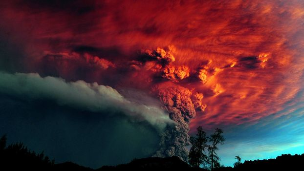 Photo free night, eruption, volcano