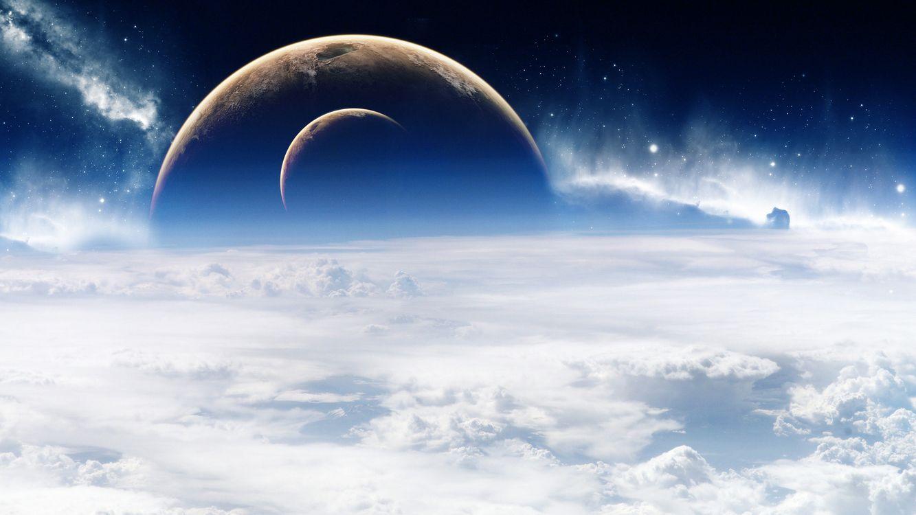 Фото бесплатно орбита, космос, облака - на рабочий стол