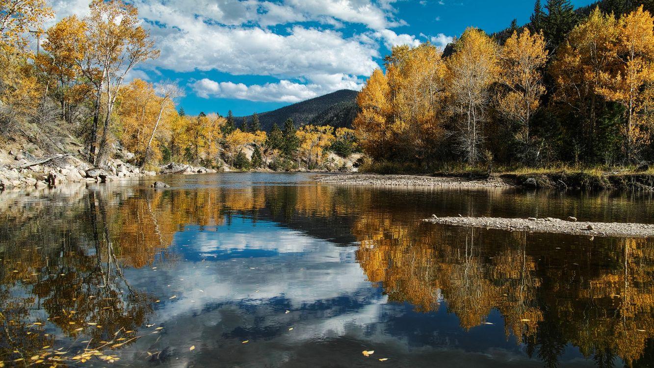 Фото бесплатно озеро, вода, деревья, лес, горы, небо, облака - на рабочий стол