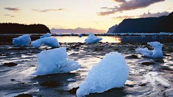Бесплатные фото река,вода,лед,деревья,горы,горизонт,сумерки