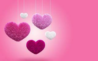 Бесплатные фото сердечки,пушистые,цветные,нитки,фон,розовый,разное