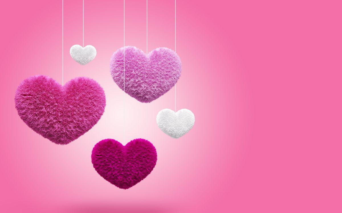 Фото бесплатно сердечки, пушистые, цветные, нитки, фон, розовый, разное, разное
