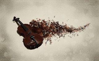 Заставки скрипка, коричневая, струны