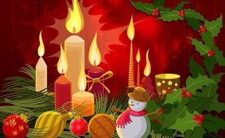 Бесплатные фото снеговик,свечи,шарики,огонь,тепло,свет,фон