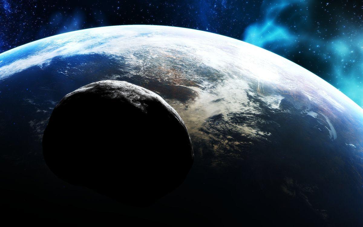 Фото бесплатно земля, планета, астероид, камень, летит, звезды, туман, газ, свет, огни, поверхность, невесомость, космос, космос