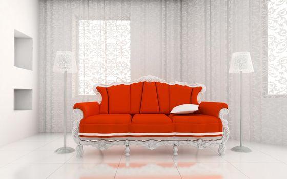 Фото бесплатно диван, королевский, красный