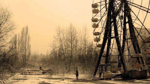 Photo free amusement park, abandoned, girl