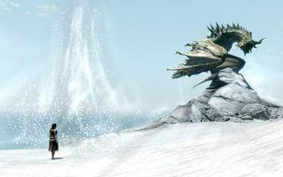 Бесплатные фото дракон,девушка,снег,скала,разное