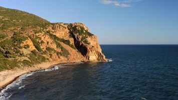 Бесплатные фото берег,утес,трава,море,горизонт,небо