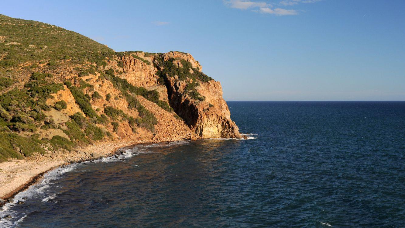 Фото бесплатно берег, утес, трава, море, горизонт, небо, пейзажи
