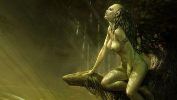 Фото бесплатно девушка, дриада, лес