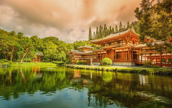 Заставки дом, китай, озеро