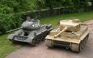 Фото бесплатно танки, белый тигр, т-34-85