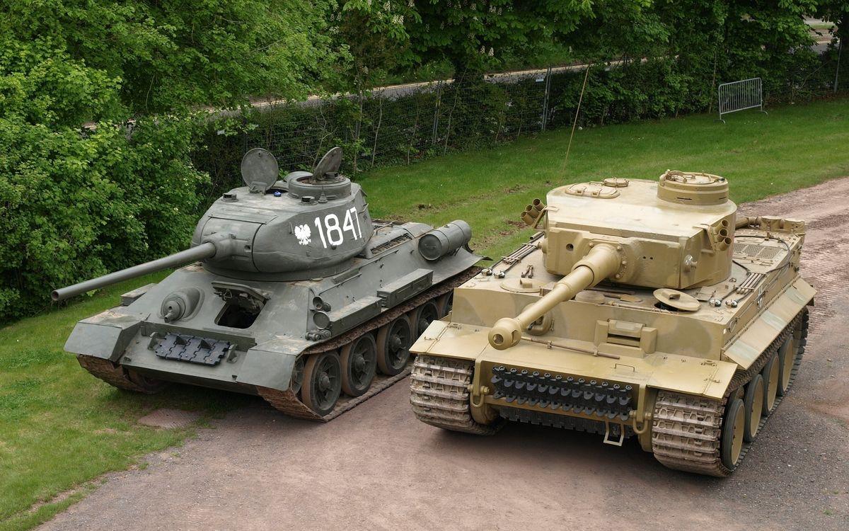 Фото бесплатно танки, белый тигр, т-34-85 - на рабочий стол