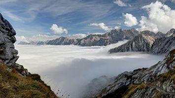 Фото бесплатно горы, снег, туман