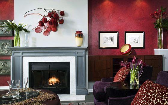 Бесплатные фото камин,огонь,вазы,кресла,стол,бокалы,зал,гостинная,интерьер