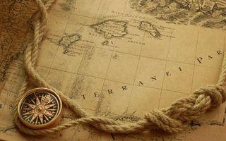 Бесплатные фото карта,компас,веревка,морской узел,разное