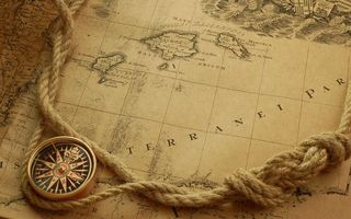 Photo free map, compass, rope