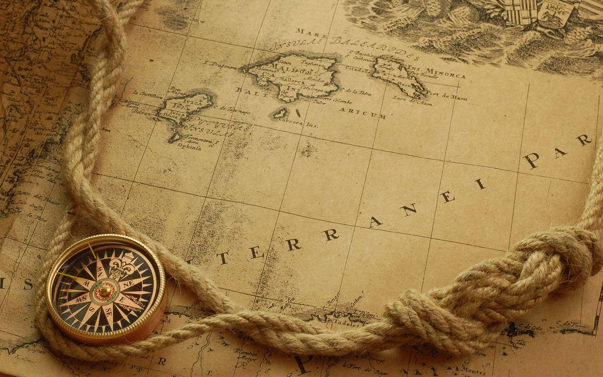 Фото бесплатно карта, компас, веревка, морской узел, разное, разное