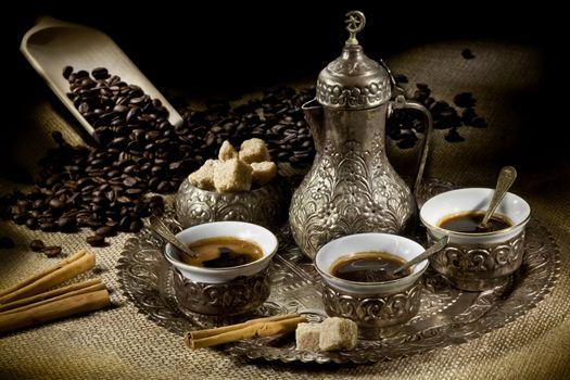 Фото бесплатно кофе, поднос, чашки