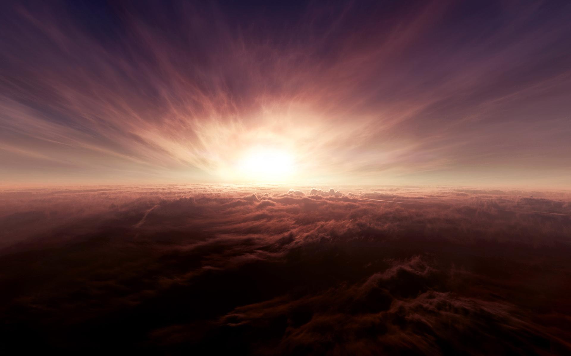 Закат с высоты над облаками загрузить