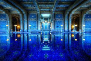 Фото бесплатно элитный бассейн, синий, в узорах