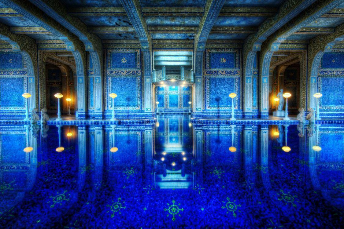 Фото бесплатно элитный бассейн, синий, в узорах - на рабочий стол