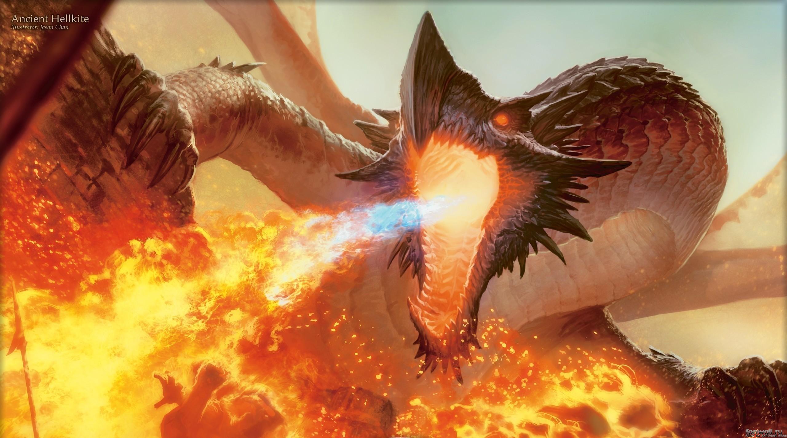 Обои дракон, огонь, пламя, человек