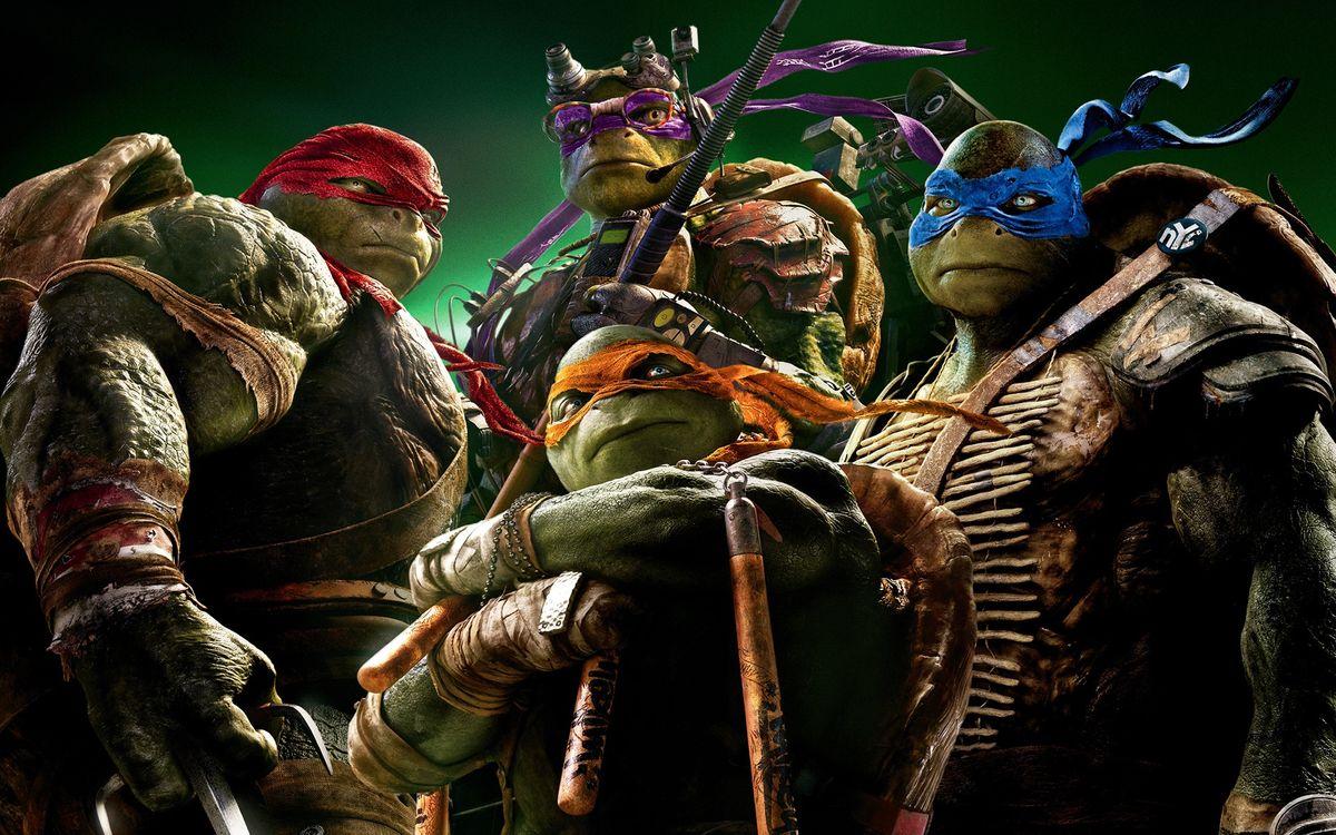 Фото бесплатно черепашки-ниндзя, панцирь, мышцы, маски, глаза, бойцы, фильмы, фильмы