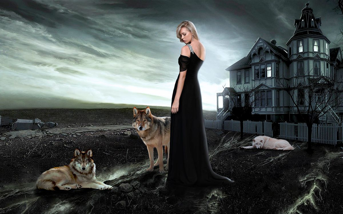 Фото бесплатно дом, девушка, волки, art - на рабочий стол