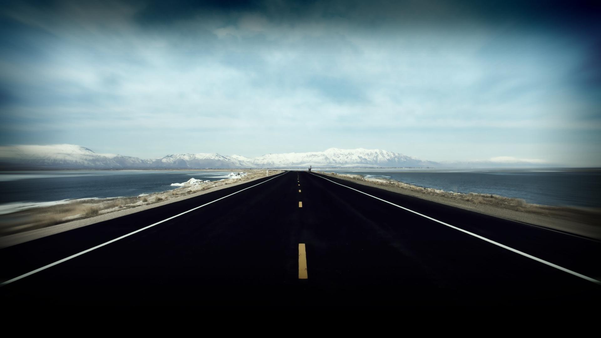 дорога, снег, вода