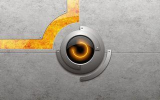 Фото бесплатно фон, серый, око, круг, свет, линии, желтые, заставка, обои, заклепки, абстракции, разное