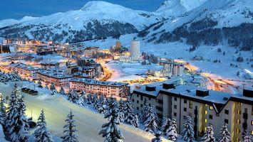 Бесплатные фото городок,зима,вечер,снег,дома,улицы,фонари