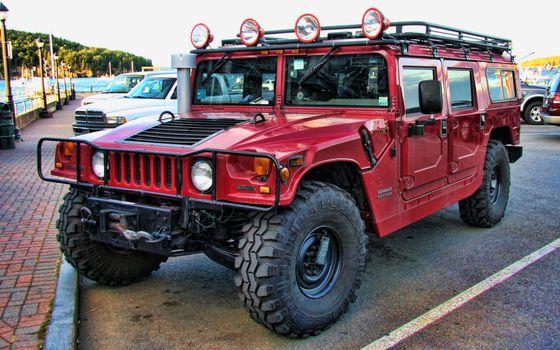 Фото бесплатно hummer, джип, красный
