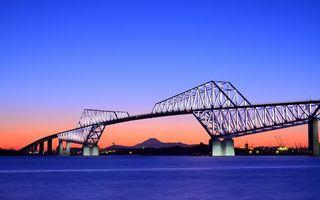 Заставки мост, море, океан, сооружение, небо, закат, улицы