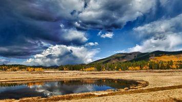 Бесплатные фото небо,облака,горы,лужа,отражение,озеро,деревья