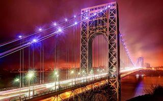 Бесплатные фото ночной мост,огни,река,фонари,машины