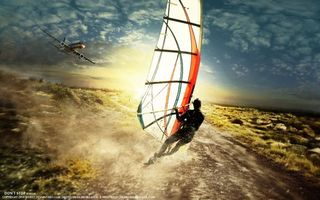 Photo free sail, airplane, sky