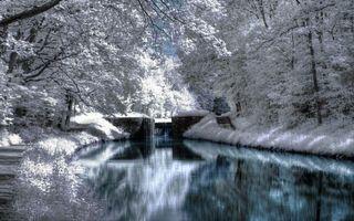 Фото бесплатно река, вода, снег