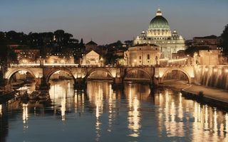 Заставки вечер, река, мост