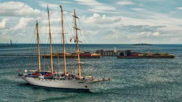 Фото бесплатно корабли, вода, остров