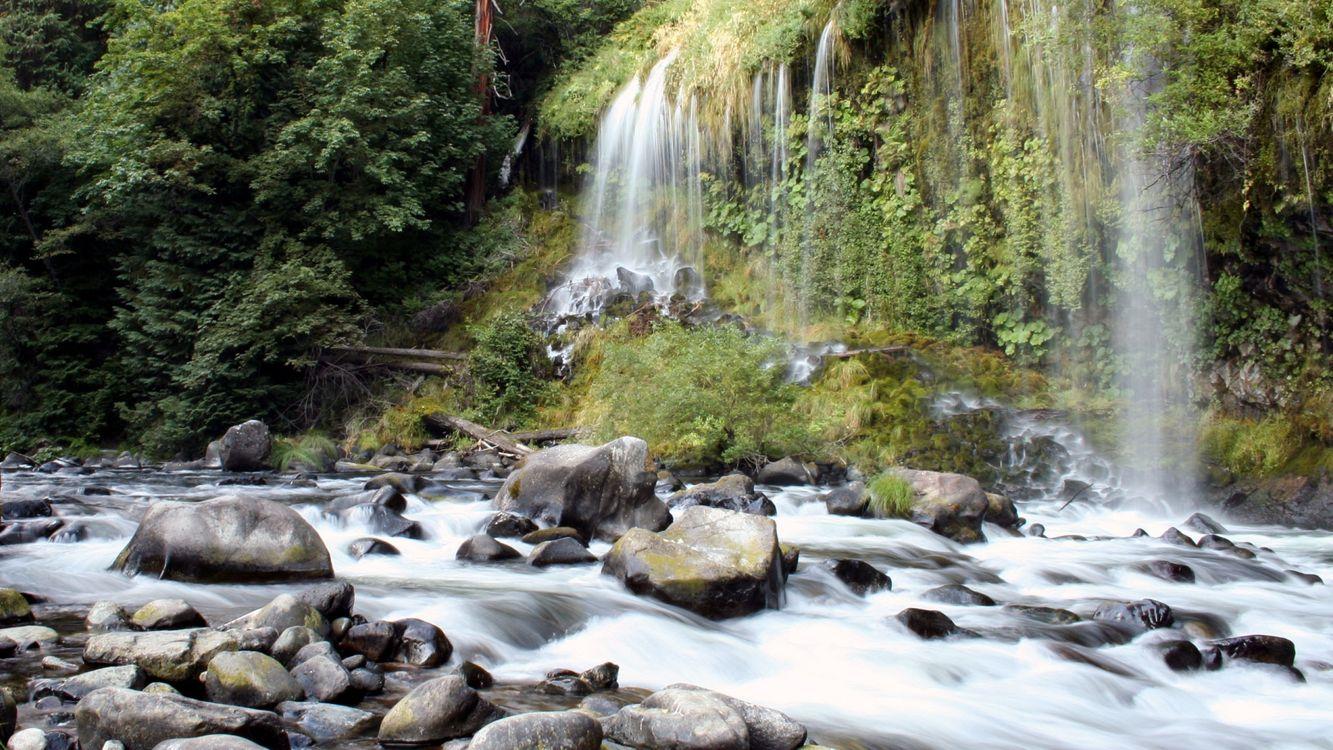 Фото бесплатно водопад, речка, лес - на рабочий стол