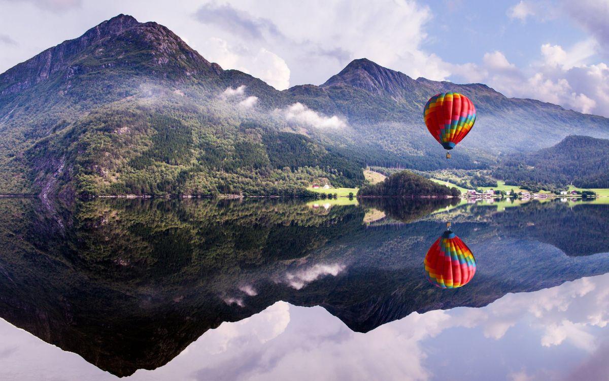 Фото бесплатно воздушный, шар, озеро - на рабочий стол
