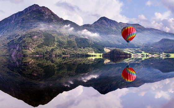 Бесплатные фото воздушный,шар,озеро,отражение,горы,облака,небо,пейзажи