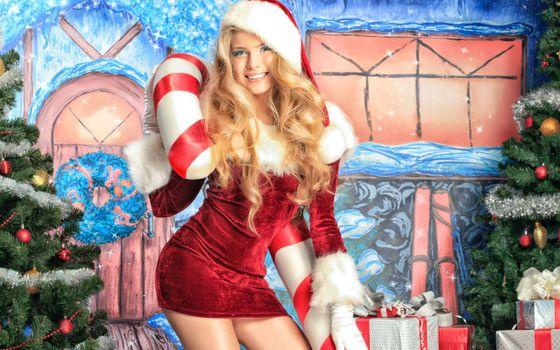 Фото бесплатно снегурка, блондинка, елочки