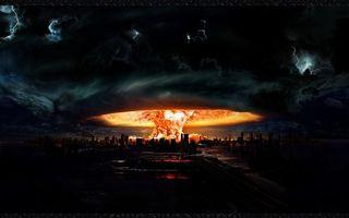 Заставки гриб, город. пламя, рисунок, ядерный, арт, взрыв